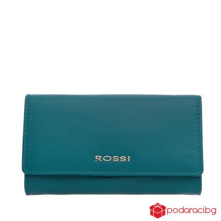 Голямо дамско портмоне езерово синьо ROSSI