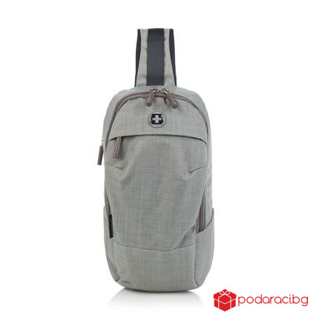 Малка чанта през рамо светло сива - SWISSDIGITAL