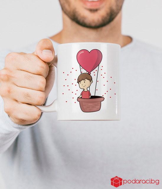 Set of cups for lovers let's fly out of love
