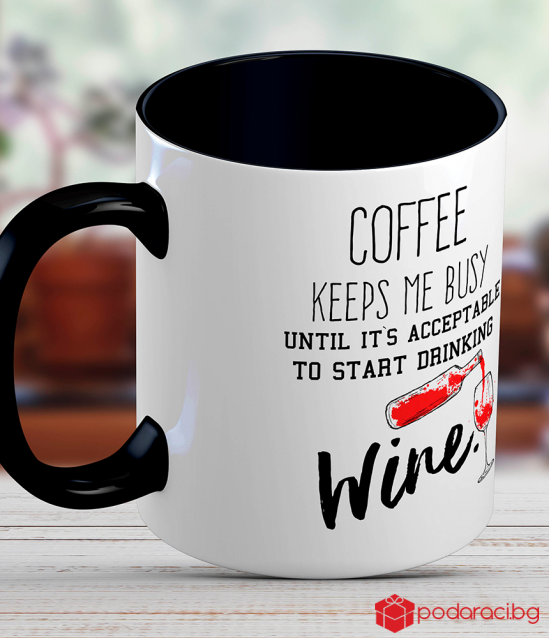 Ceramic mug with funny inscription for wine lovers