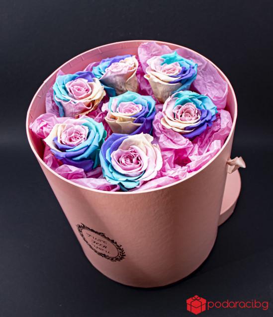 Just for you вечни рози цвят дъга