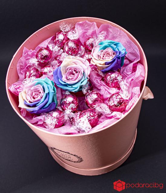 Just for you Pink вечни рози и бонбони