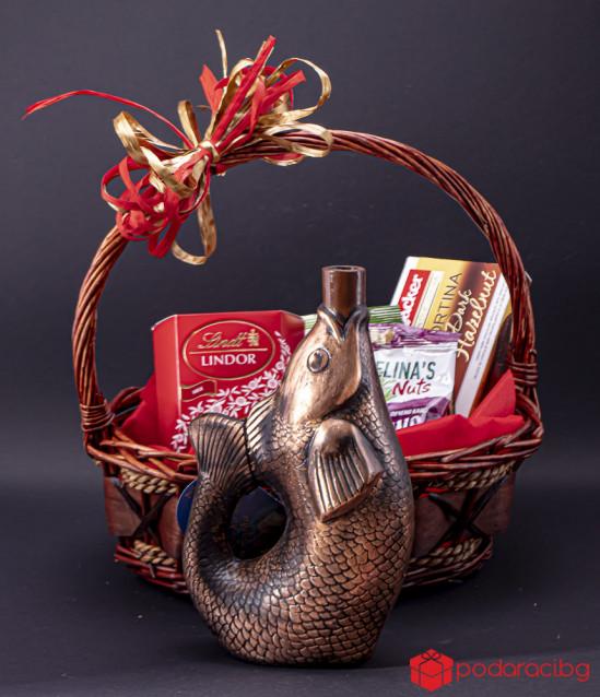 Подаръчна кошница Риба с бяло вино