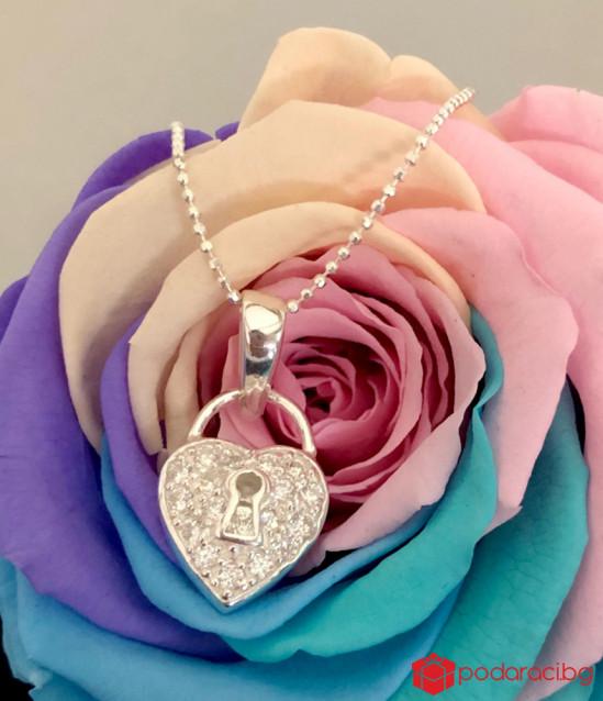 Women Silver Necklace Padlock