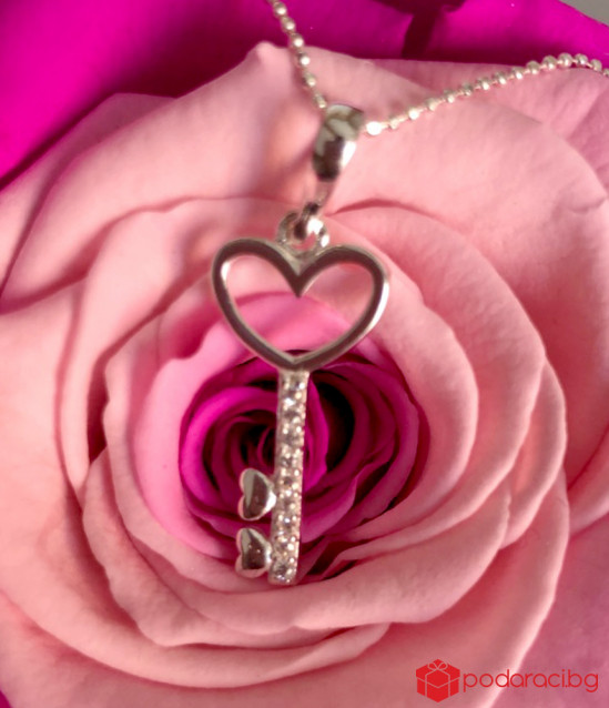 Silver Necklace key to Heart
