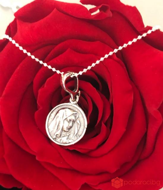 Silver Necklace Virgin Mary