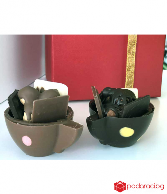 Set of 2 PCs. Chocolate cups with nuts