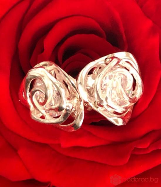Сребърен комплект Роза с обици и колие