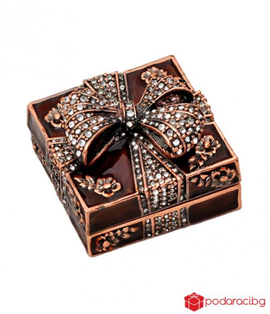 Кутия за бижута панделка кафява