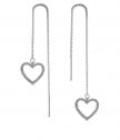 Сребърни обеци Циркониево сърце