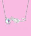 Сребърно колие Коте с лунен камък