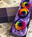 Вечни Рози дъга в лукс кутия