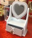 Кутия за бижута с огледало сърце, дърво, 28x19 см