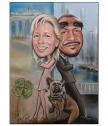Карикатура със сух пастел, размер 25x32,5 см