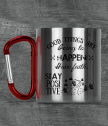 Metal panning with carabiner and text Good things are going to happen