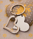 Engraved Metal Keychain Two hearts