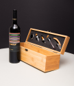 Bamboo wine set with engraved text
