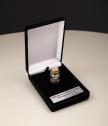 Стъклено шишенце с парченца истински метеорит