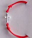 Дамска гривна с червен конец и сребърно кръстче