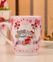 Porcelain mug with bears in love