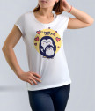 White T-shirt for mother with Penguin