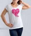 Бяла тениска за майка със сърце