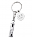 Metal keychain Hourglass with engraved text