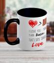Керамична чаша с текст I love you more than bacon...