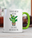 Cup with cactus and funny inscription in English