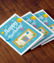 Augmented Reality card gift surprise in blue