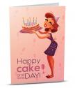 Картичка с добавена реалност Happy cake and wine day