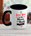 Ceramic mug with text I love you to the moon and back